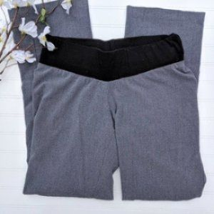 DUO Gray Straight Leg Pants With Low Belly Panel